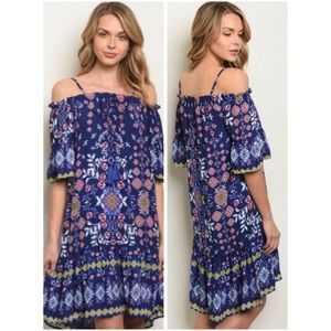 Dresses & Skirts - NWT PRETTY BLUE FLORAL OFF SHOULDER DRESS